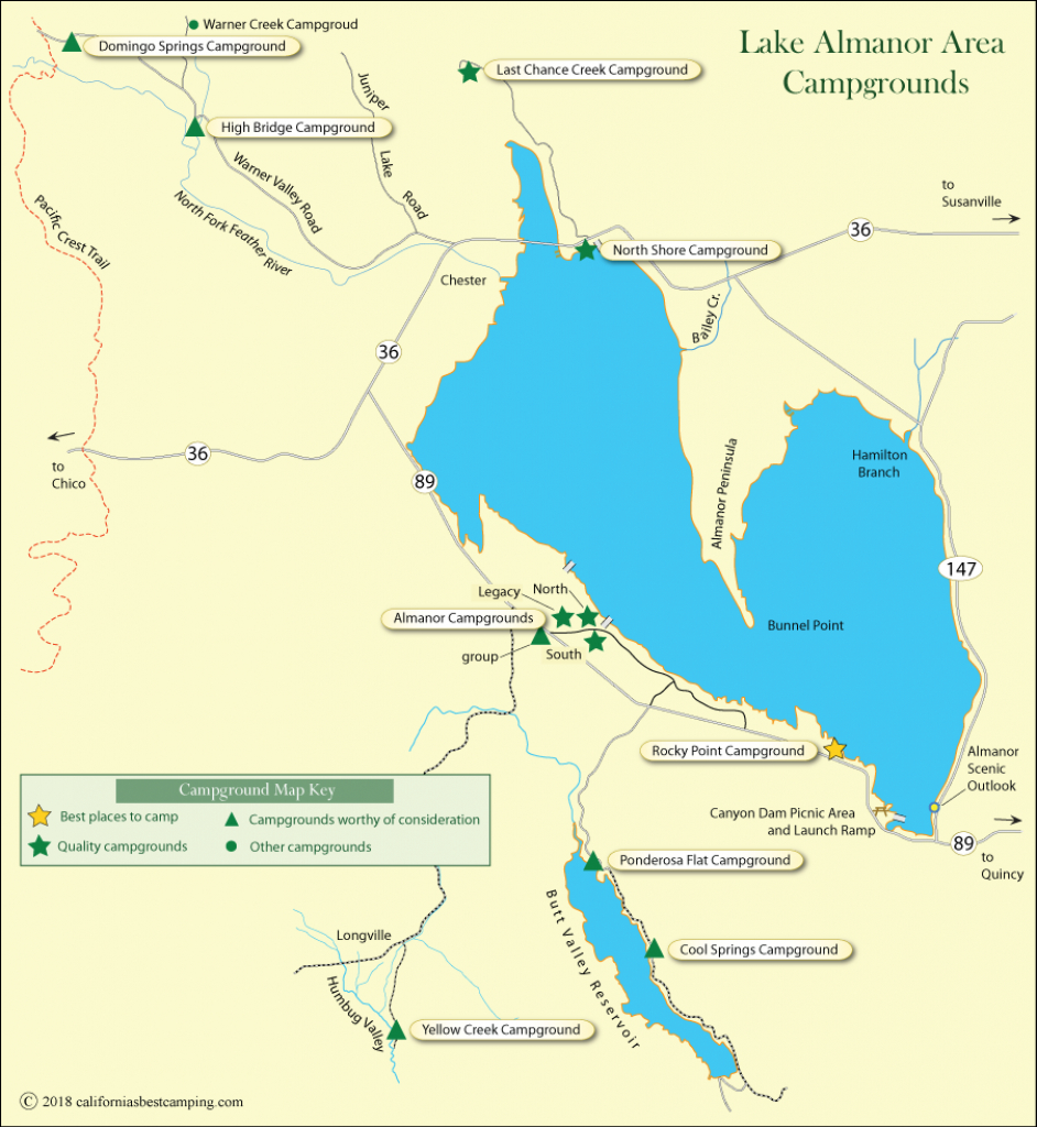 Lake Almanor Area Campground Map - California's Best Camping - California Camping Sites Map