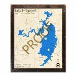 Lake Bridgeport, Texas 3D Wooden Map | Framed Topographic Wood Chart   Bridgeport Texas Map