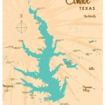 Lake Conroe Tx Map Art Print | Etsy   Map Of Lake Conroe Texas