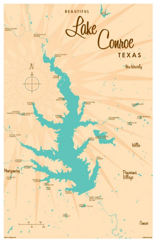 Lake Conroe Tx Map Art Print   Etsy - Map Of Lake Conroe Texas
