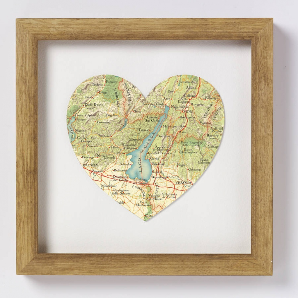 Lake Garda Italy Map Heart Printbombus | Notonthehighstreet - Printable Map Of Lake Garda