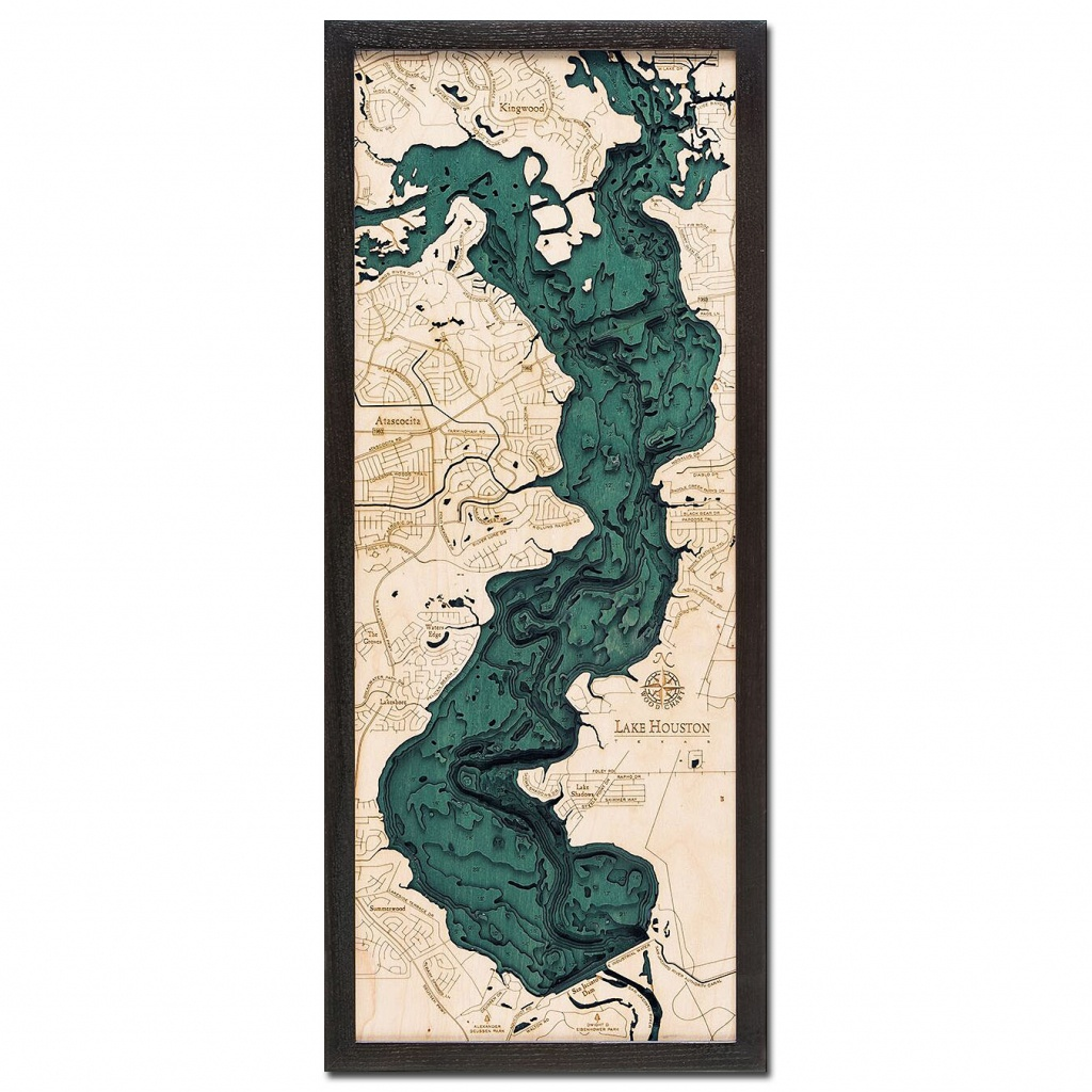 """Lake Houston, Tx 3D Wood Map, 13.5"""" X 31"""" - 3D Topographic Map Of Texas"""