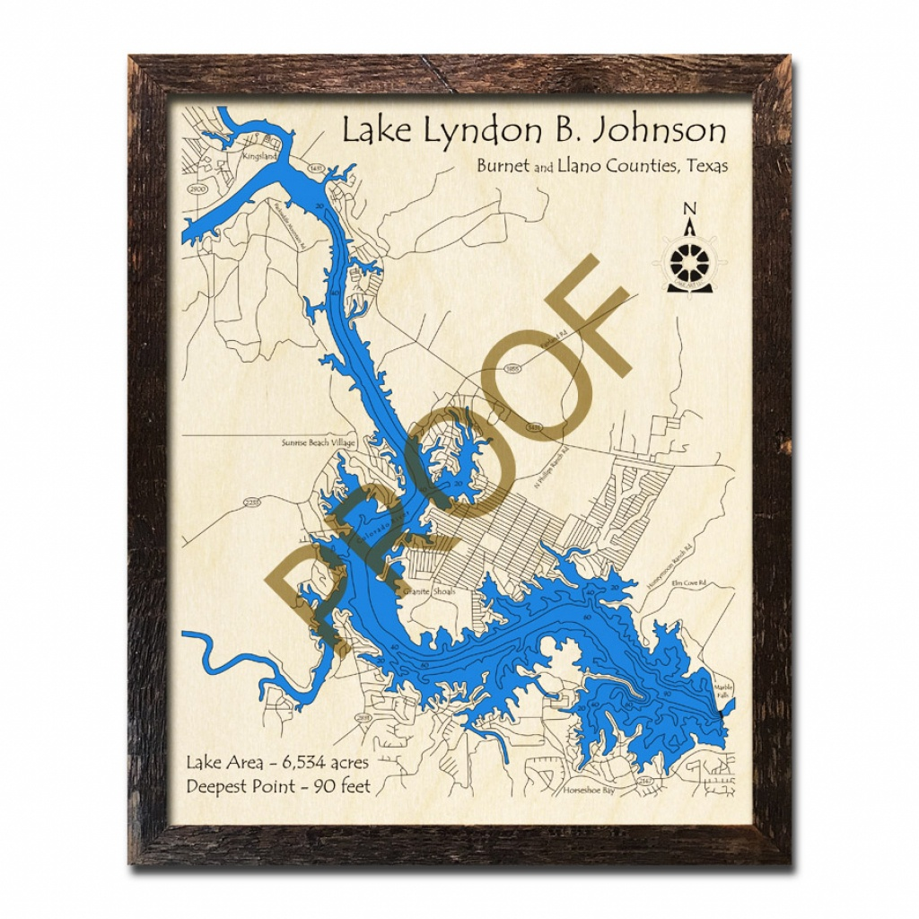 Lake Lyndon B Johnson, Tx 3D Wooden Map | Topographic Wood Chart - Sunrise Beach Texas Map