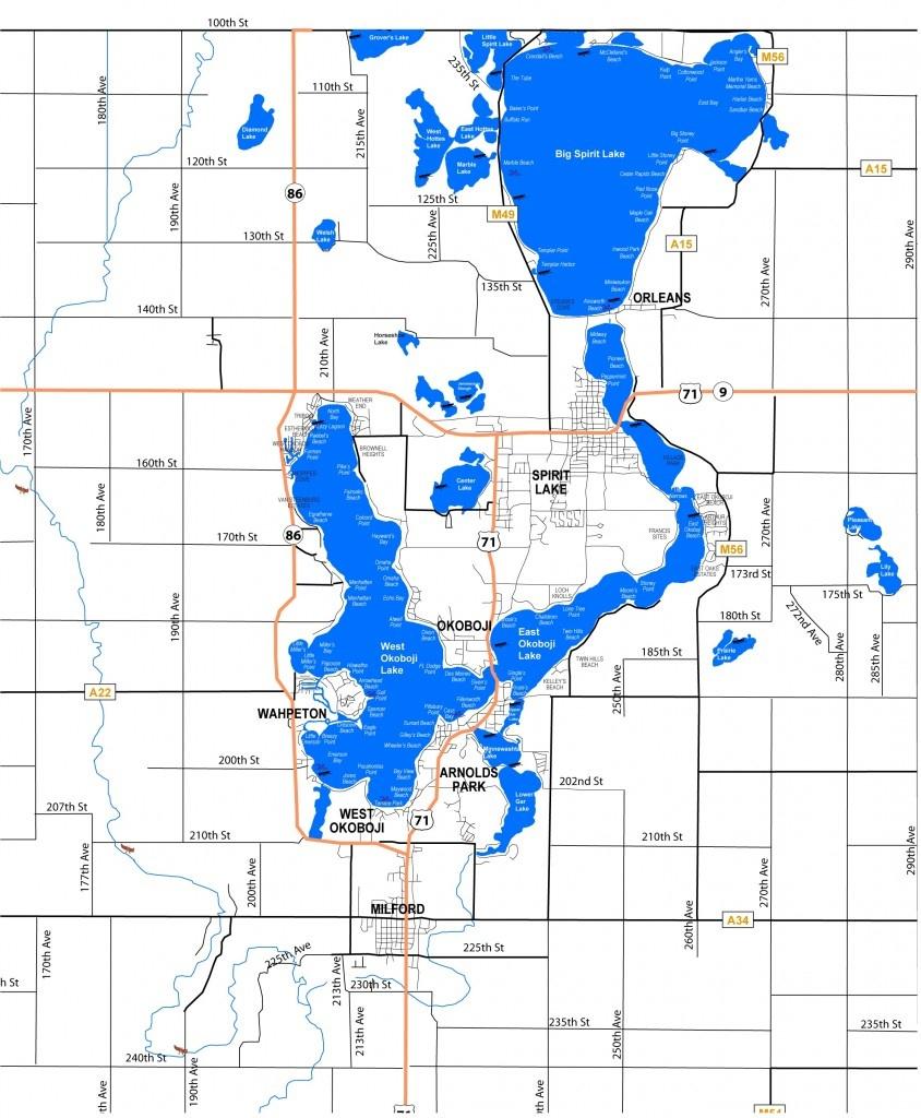 Lake Maps, Sizes & Depths – Iowa Great Lakes Association - Printable Lake Minnetonka Map