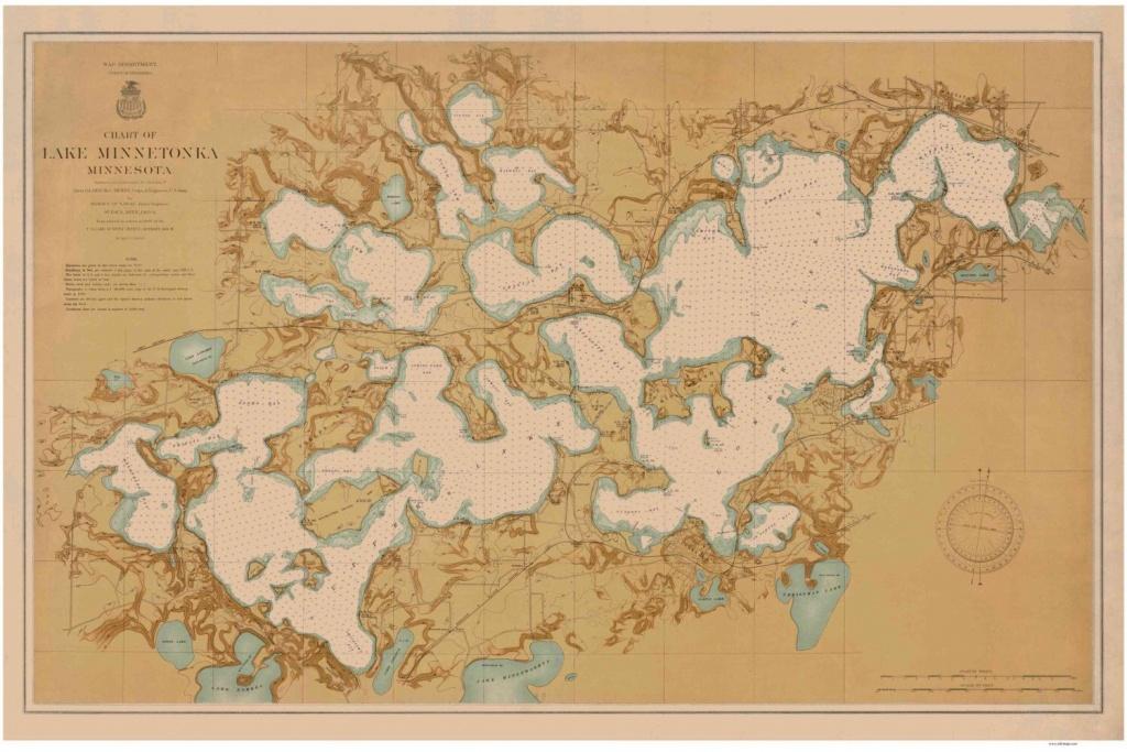 Lake Minnetonka - 1906 Inland Lakes - Minnesota Old Map - Nautical - Printable Lake Minnetonka Map