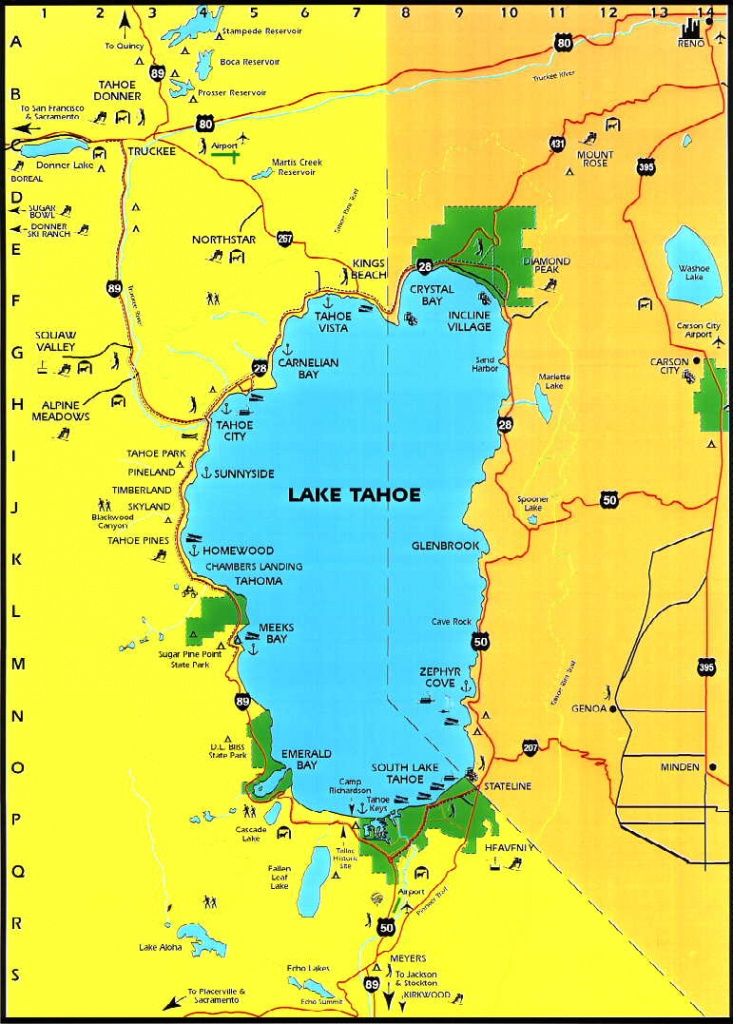 Lake Tahoe Area Maps | Detailed Lake Tahoe Area Mapregion - Printable Map Of Lake Tahoe