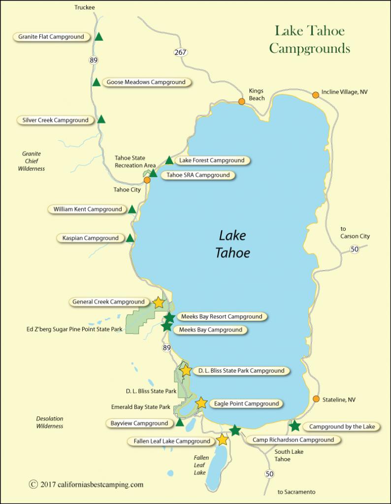 Lake Tahoe Campground Map - California - Lake Tahoe California Map