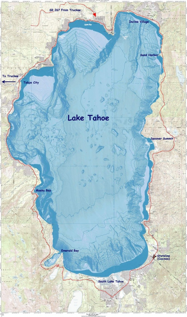 Lake Tahoe Map: Cycling Route (In Red), Encircling An Underwater - Printable Map Of Lake Tahoe