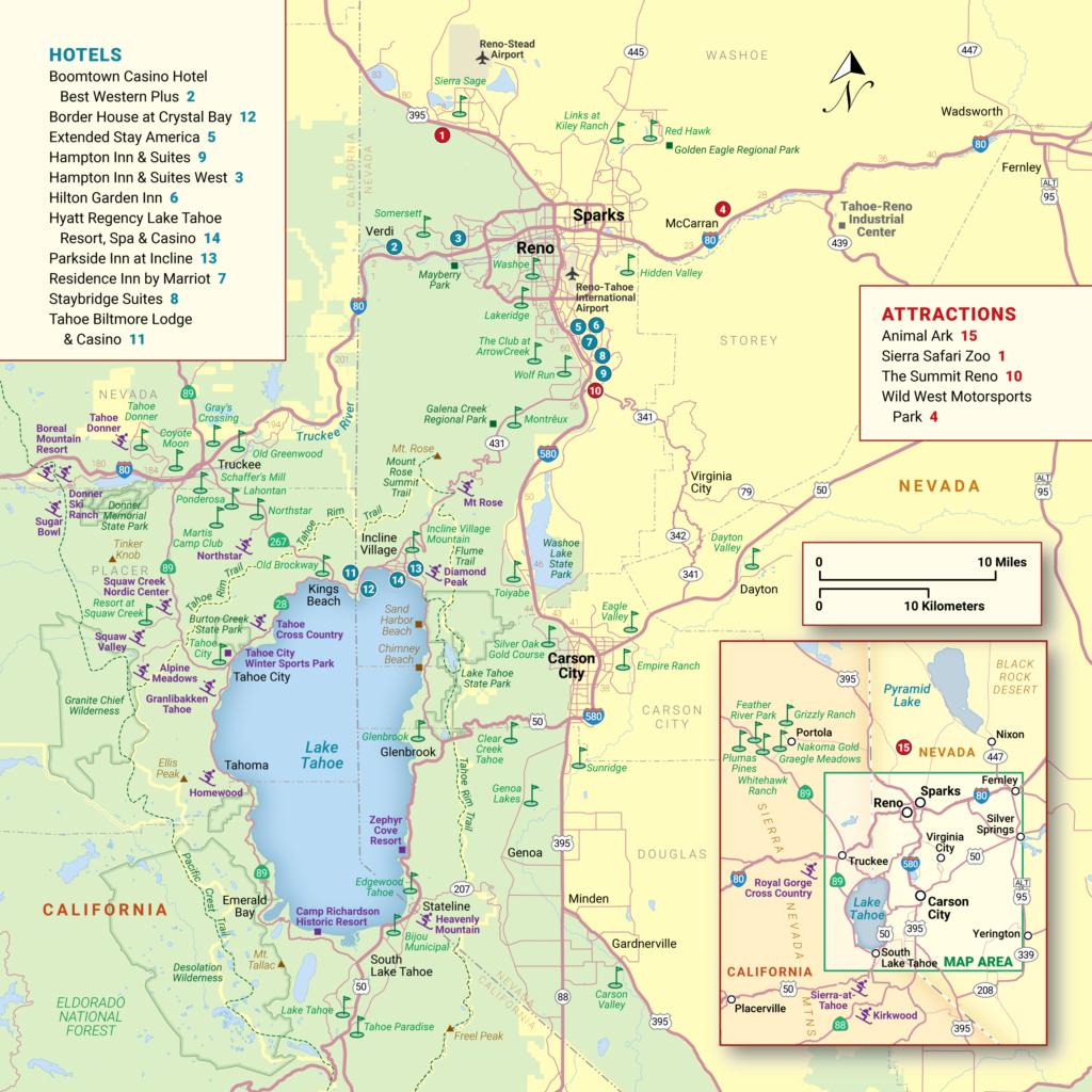 Lake Tahoe Maps And Reno Maps | Discover Reno Tahoe - Map Of Lake Tahoe Area California