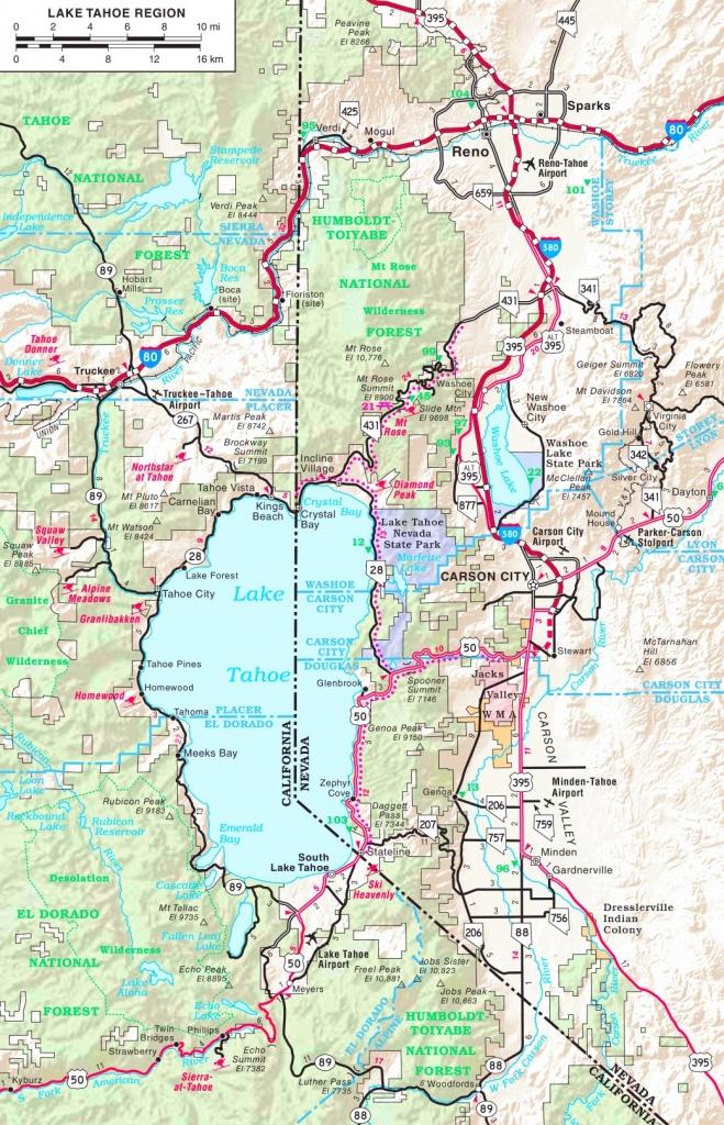 Lake Tahoe Road Map - Map Of Lake Tahoe Area California