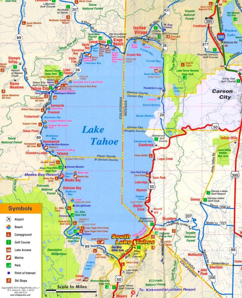 Lake Tahoe Tourist Attractions Map - Map Of Lake Tahoe Area California
