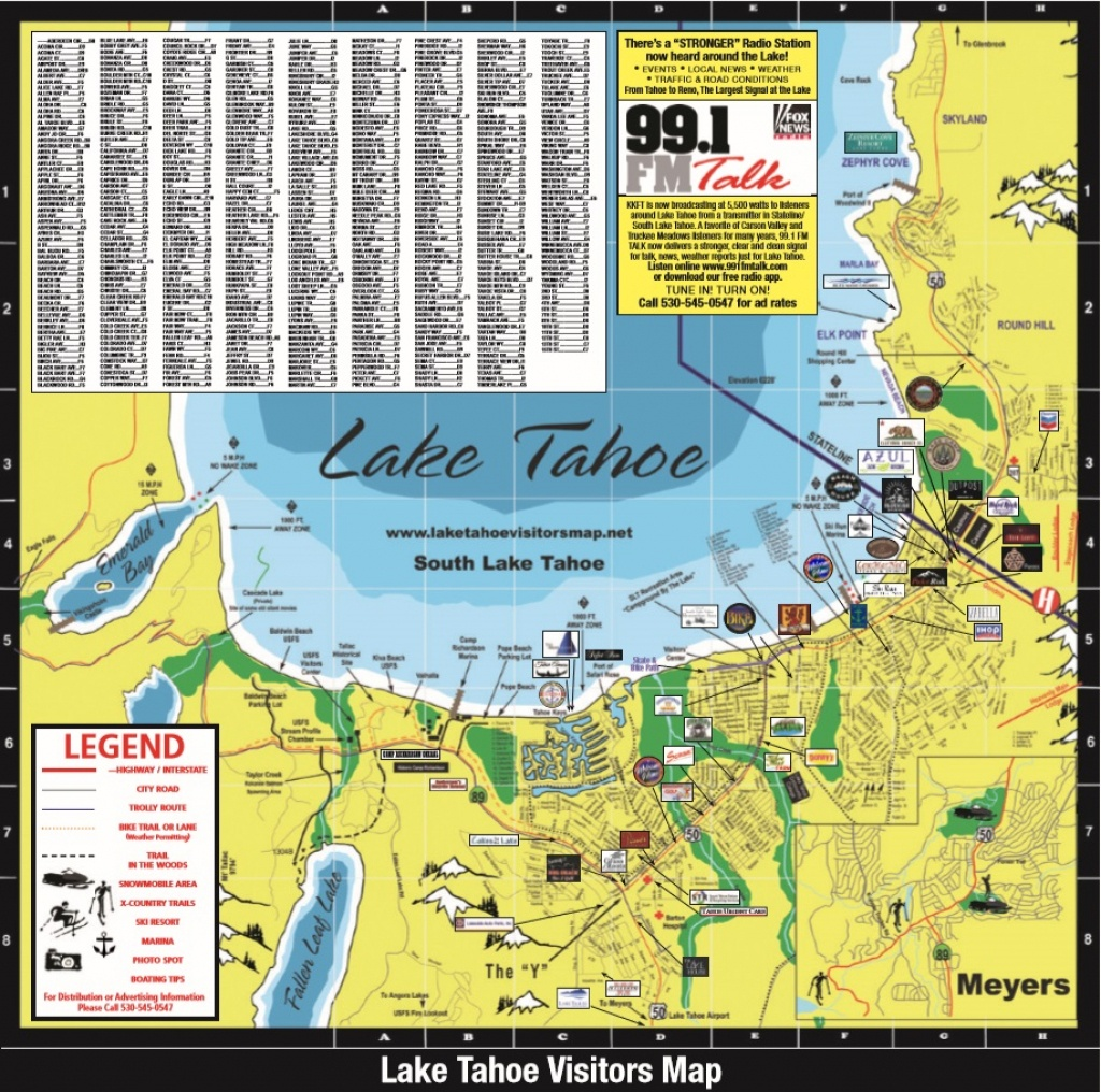 Lake Tahoe Visitors Map - Printable Map Of Lake Tahoe