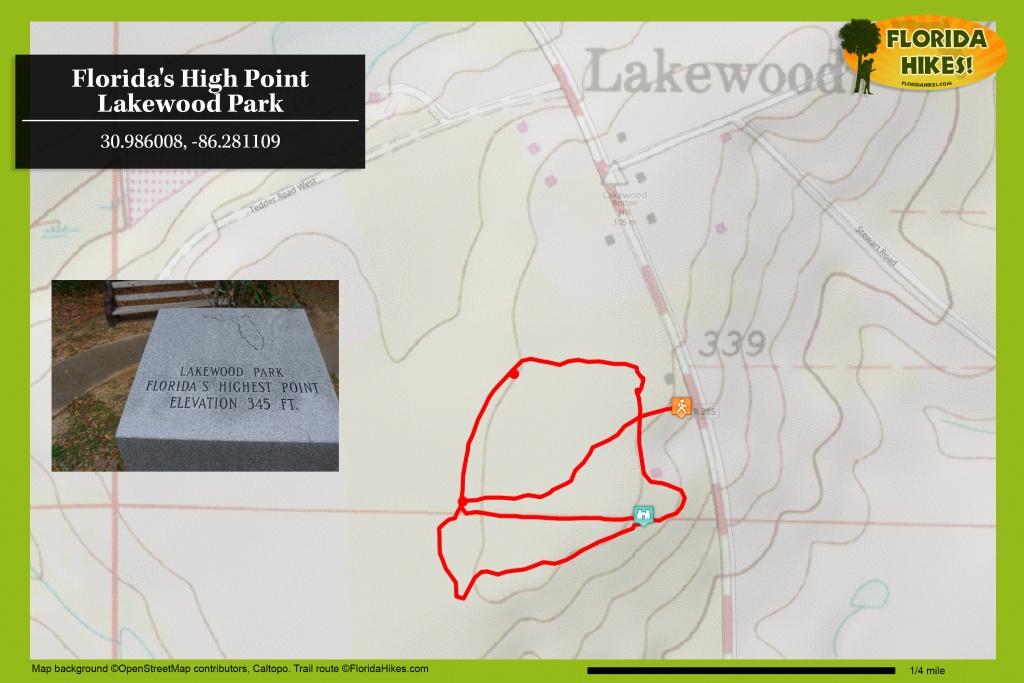Lakewood Park: Florida's High Point At Britton Hill | Florida Hikes! - Lakewood Florida Map