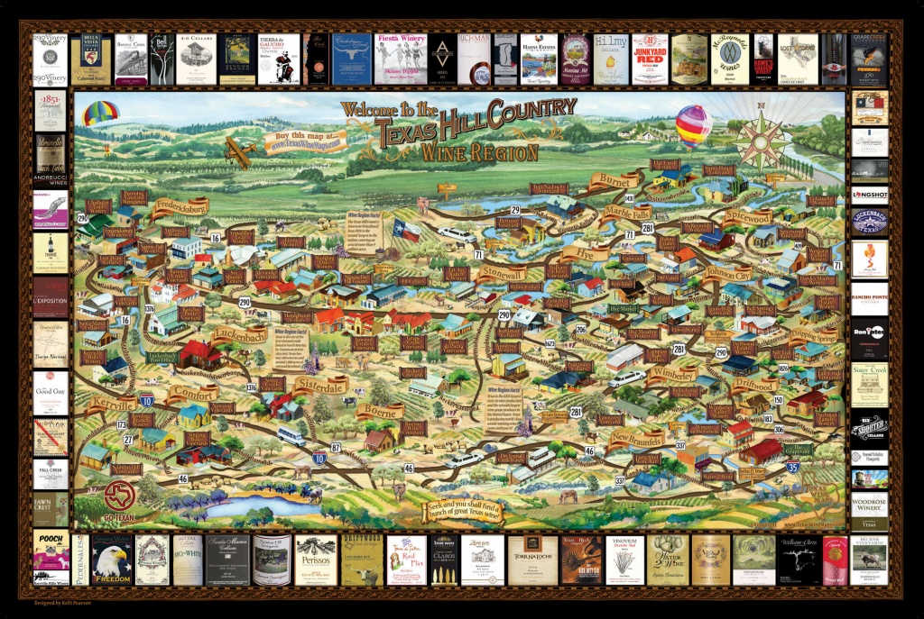 Laminated Texas Wine Map | Texas Wineries Map |Texas Hill Country - Texas Hill Country Wine Trail Map