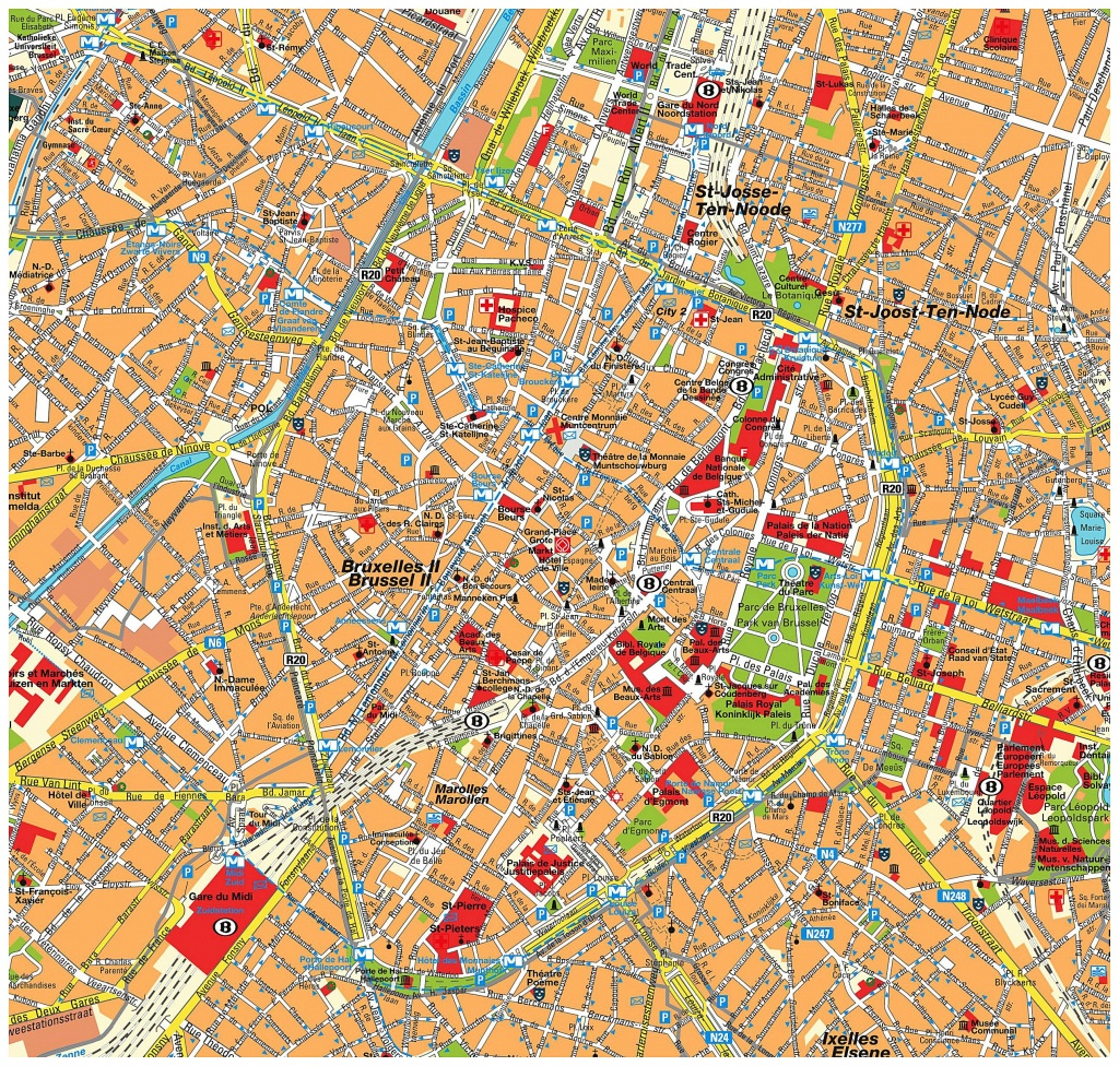 Large Brussels Maps For Free Download And Print | High-Resolution - Tourist Map Of Brussels Printable