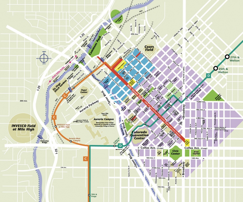 Large Denver Maps For Free Download And Print | High-Resolution And - Denver City Map Printable