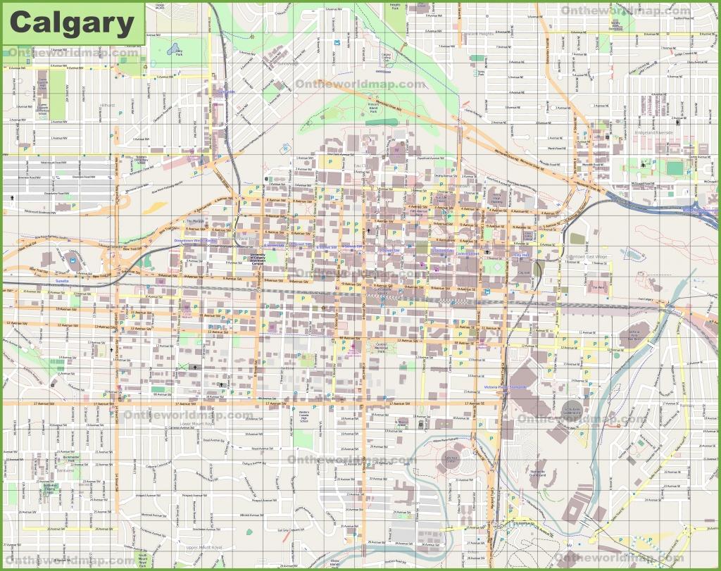 Large Detailed Map Of Calgary - Printable Map Of Calgary