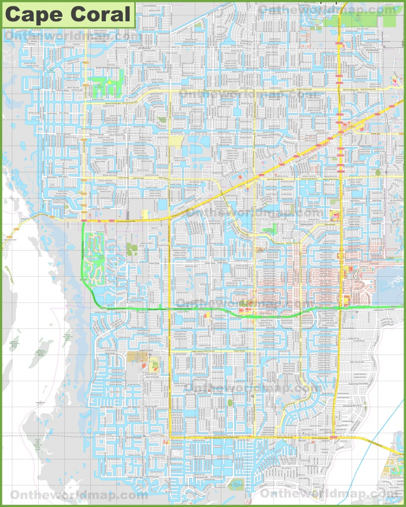 Large Detailed Map Of Cape Coral - Map Of Florida Including Cape Coral