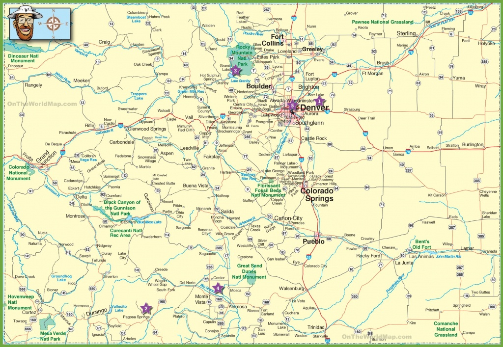 Large Detailed Map Of Colorado With Cities And Roads - Printable Road Map Of Colorado