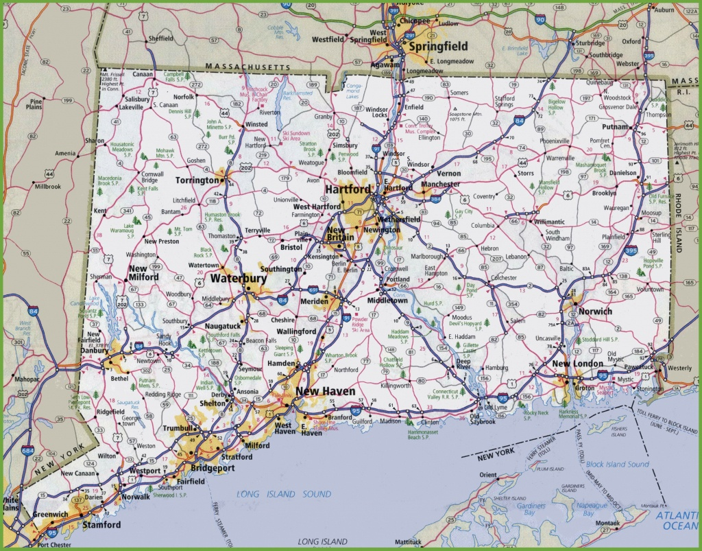 Large Detailed Map Of Connecticut With Cities And Towns - Printable Map Of Connecticut