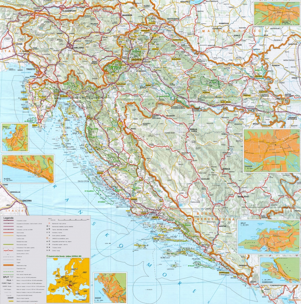 Large Detailed Map Of Croatia With Cities And Towns - Printable Map Of Croatia