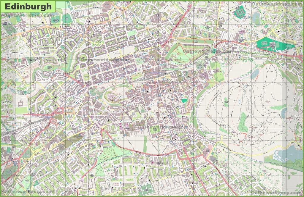 Large Detailed Map Of Edinburgh - Edinburgh Street Map Printable