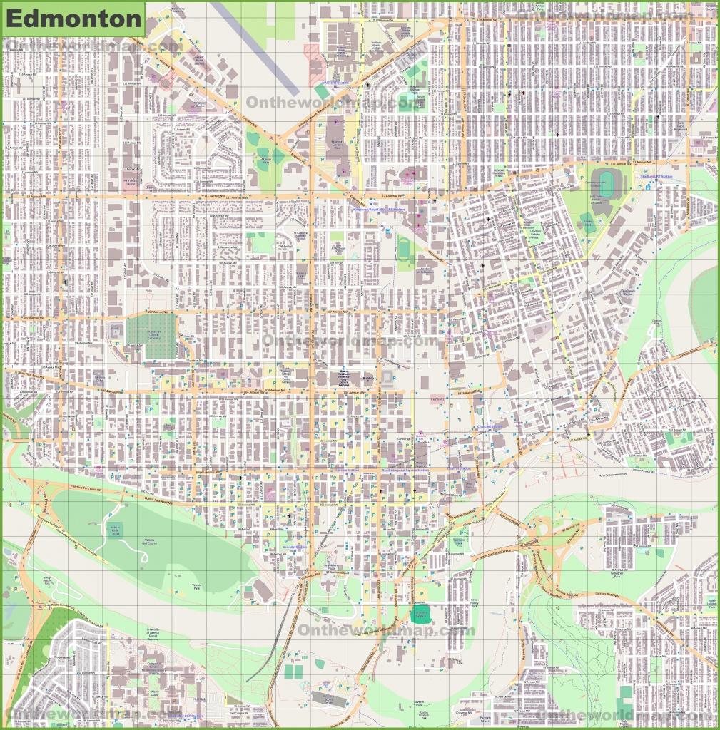 Large Detailed Map Of Edmonton - Printable Map Of Edmonton