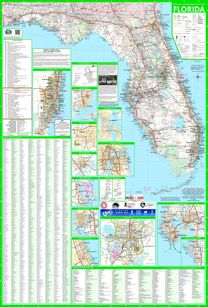 Large Detailed Map Of Florida With Cities And Towns - Shell Point Florida Map