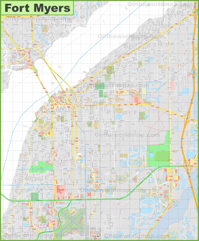 Large Detailed Map Of Fort Myers - Street Map Of Fort Myers Florida