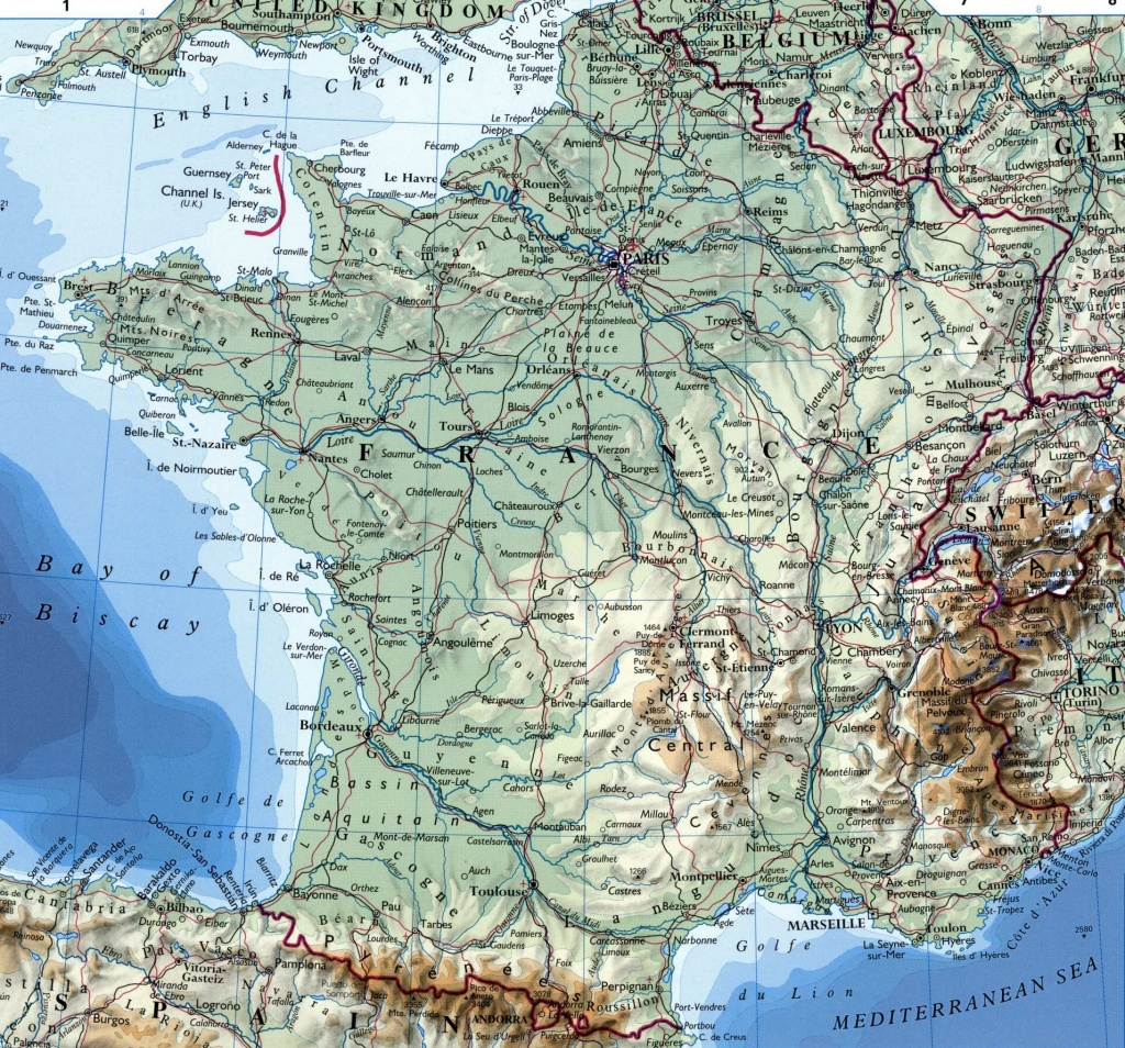 Large Detailed Map Of France With Cities - Large Printable Map Of France
