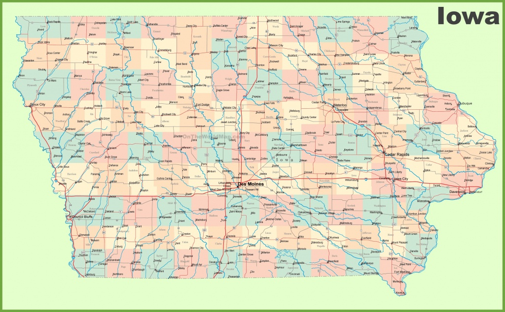 Large Detailed Map Of Iowa With Cities And Towns - Printable Iowa Road Map
