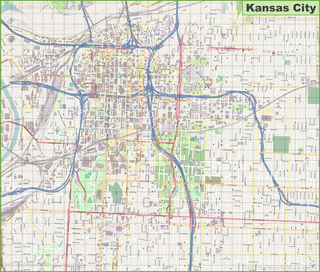 Large Detailed Map Of Kansas City - Printable Kansas Map With Cities