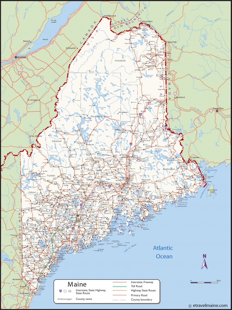 Large Detailed Map Of Maine With Cities And Towns - Printable Map Of Maine Coast