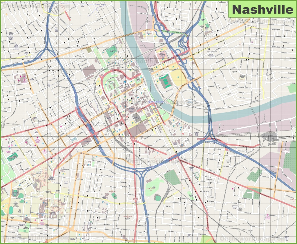 Large Detailed Map Of Nashville - Printable Map Of Nashville