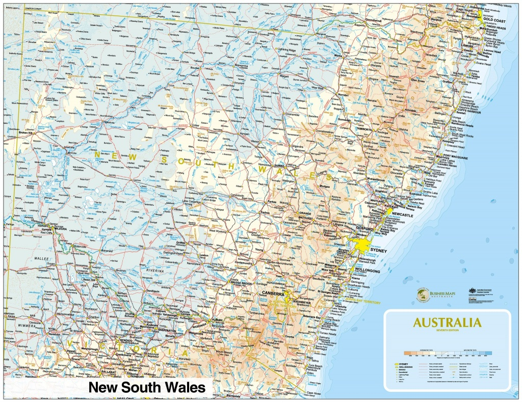 Large Detailed Map Of Nsw With Cities And Towns Australia New South - Printable Map Of Nsw