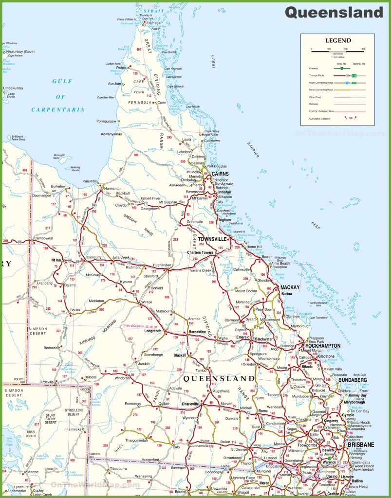 Large Detailed Map Of Queensland With Cities And Towns - Queensland Road Maps Printable