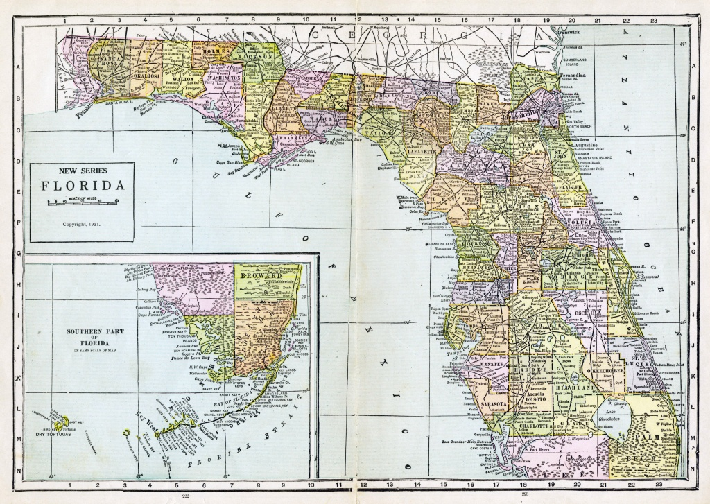 Large Detailed Old Administrative Map Of Florida With All Cities - Old Florida Road Maps