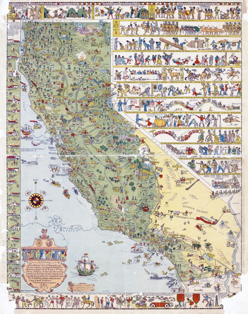 Large Detailed Old Illustrated Tourist Map Of California State - Illustrated Map Of California