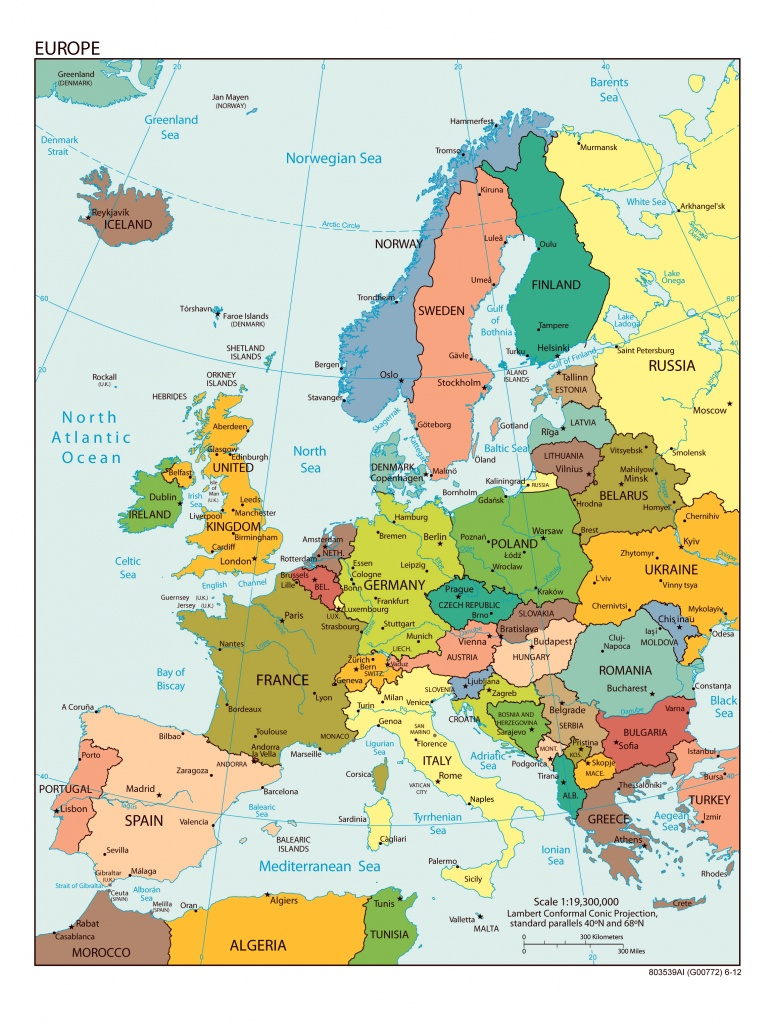 Large Detailed Political Map Of Europe With All Capitals And Major - Large Map Of Europe Printable
