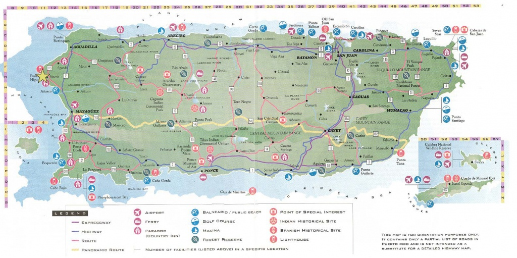 Large Detailed Road And Tourist Map Of Puerto Rico. Puerto Rico - Printable Map Of Puerto Rico For Kids