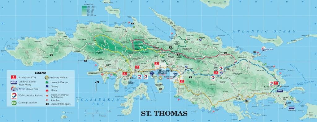 Large Detailed Road And Tourist Map Of St. Thomas U.s. Virgin - Printable Map Of St John Usvi