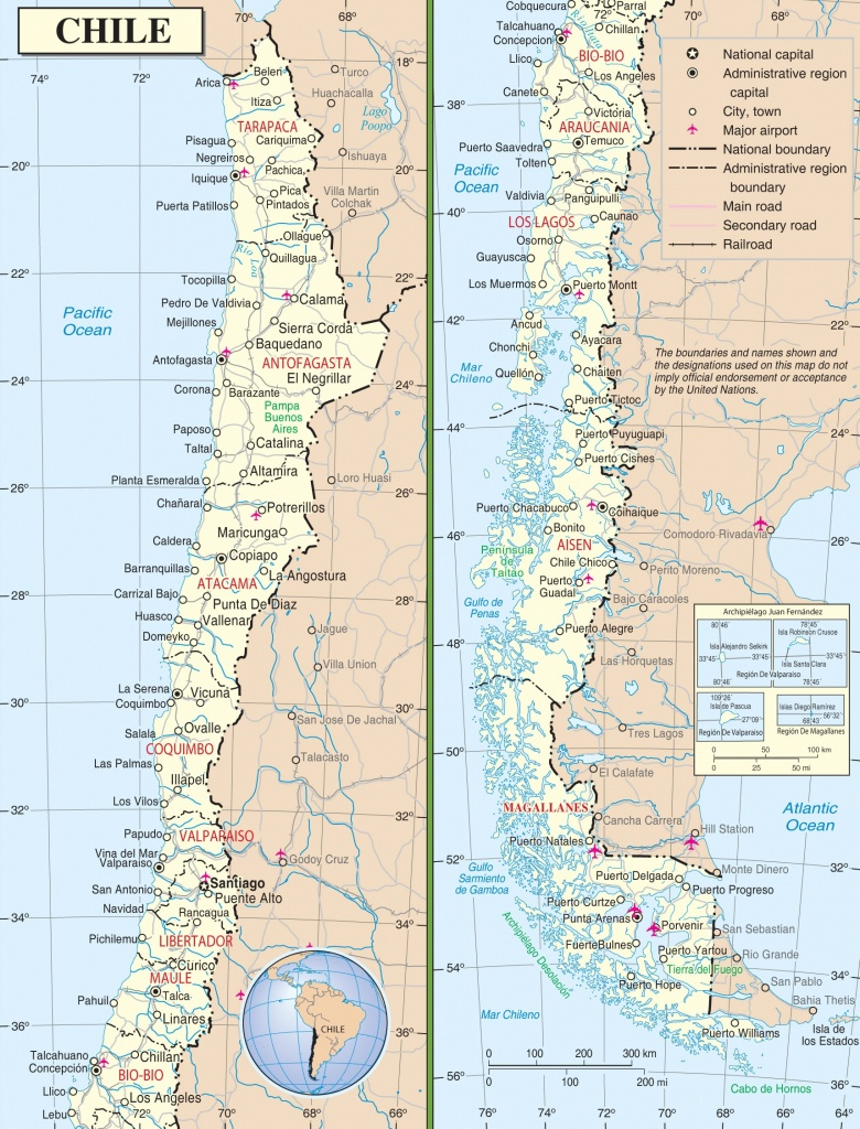 Large Detailed Road Map Of Chile - Free Printable Map Of Chile