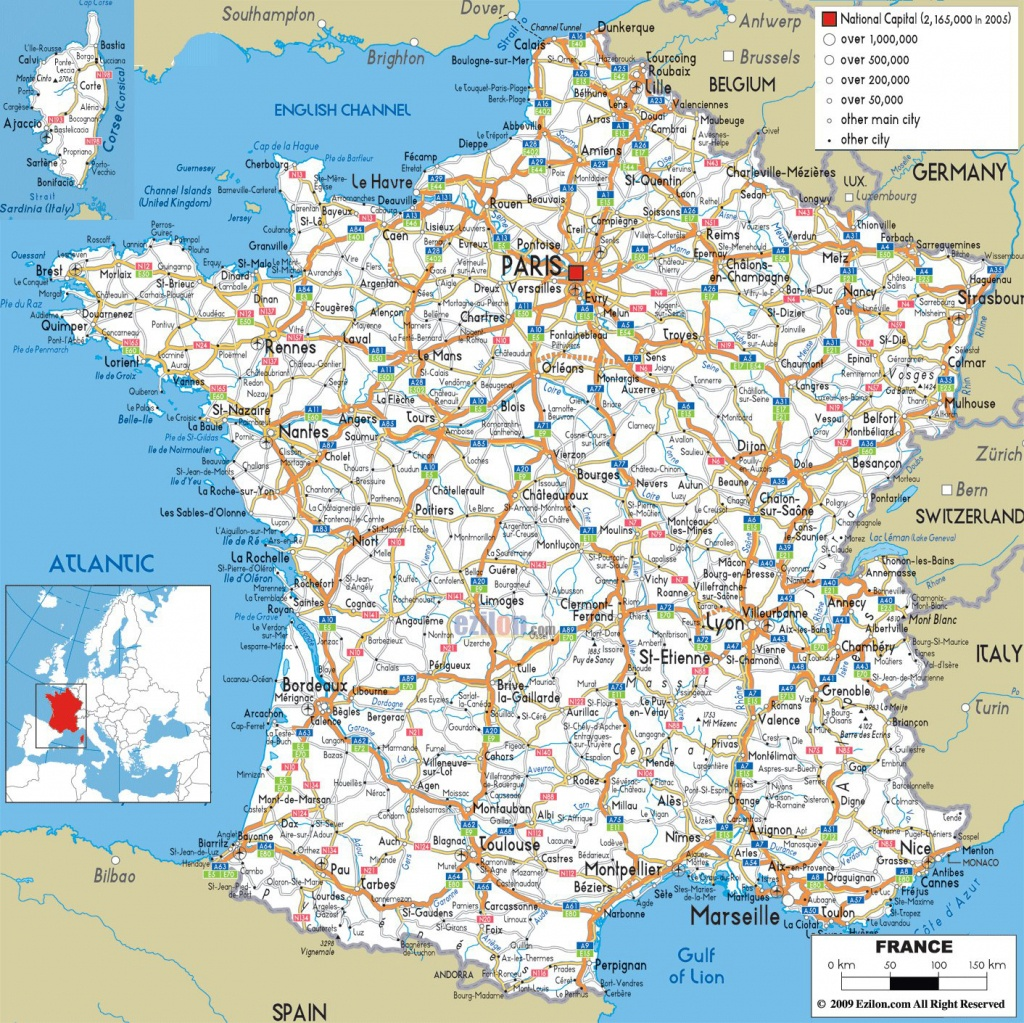 Large Detailed Road Map Of France With All Cities And Airports - Free Printable Driving Maps