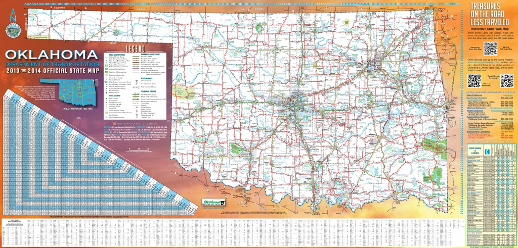 Large Detailed Road Map Of Oklahoma - Printable Map Of Oklahoma