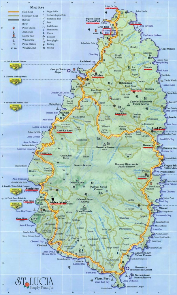 Large Detailed Road Map Of Saint Lucia. Saint Lucia Large Detailed - Printable Road Map Of St Maarten