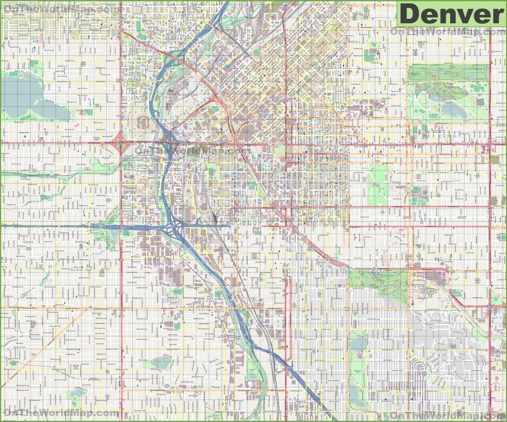 Large Detailed Street Map Of Denver - Printable Map Of Denver