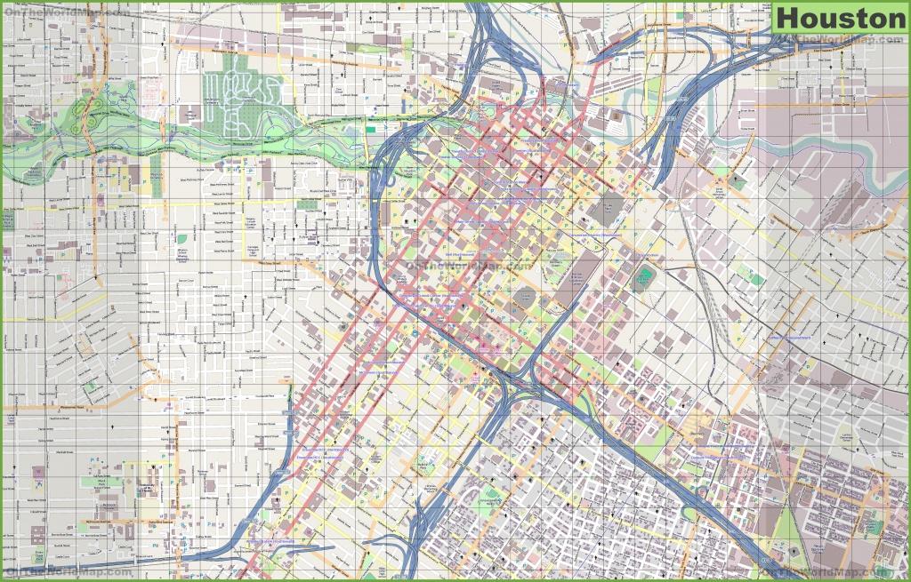 Large Detailed Street Map Of Houston - Printable Map Of Houston