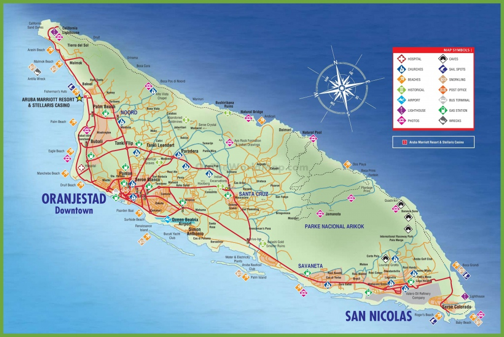 Large Detailed Tourist Map Of Aruba - Printable Map Of Aruba