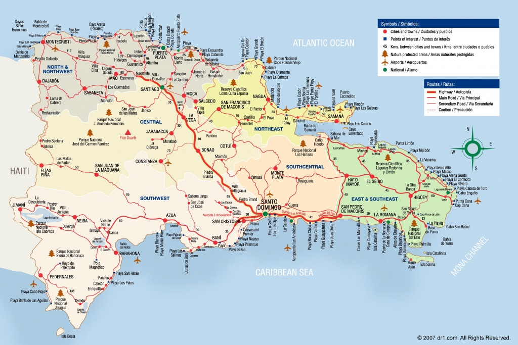 Large Detailed Tourist Map Of Dominican Republic - Free Printable Map Of Dominican Republic