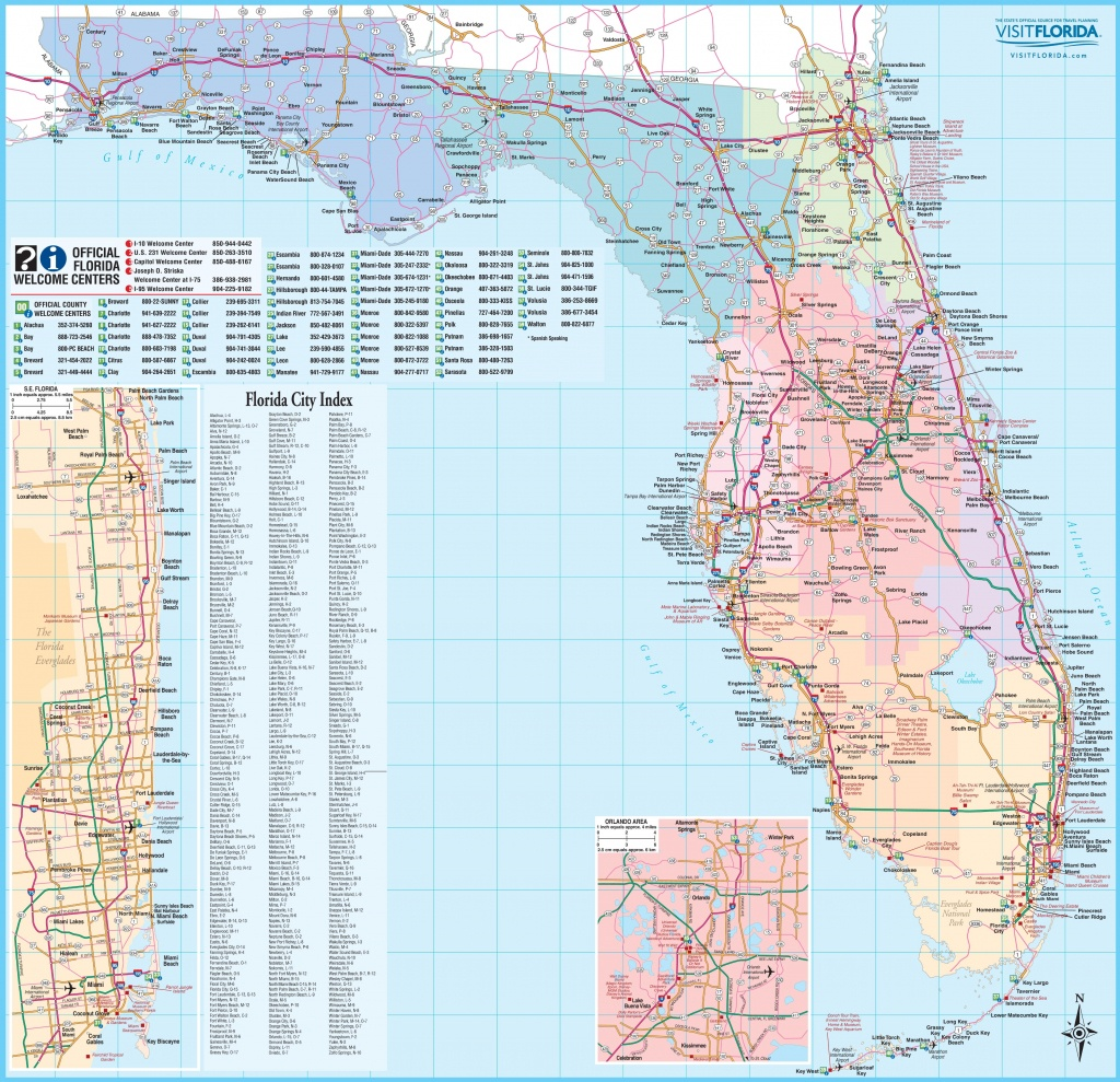 Large Detailed Tourist Map Of Florida - Road Map Of Central Florida